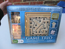 GAME TRIO SOLID WOOD COLLECTIBLE GAMES AND PUZZLES BY CARDINAL NEW & SEALED!