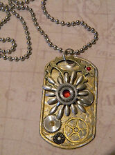 Steampunk Collage Pendant Watch Parts Gears Cogs Clockwork Dog Tag Necklace D151