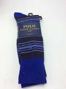 $18  men's Polo Ralph Lauren 2 pack stripe & solid socks R2