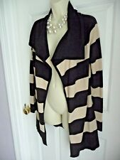 White House Black Market S/M Sweater Open Front Cardigan Striped Wide Collar