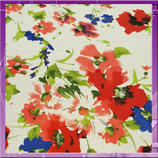 100% RAYON CREPE FLORAL FABRIC 55 INCHES WIDE SOLD BTY ROYAL BLUE / PINK / RED