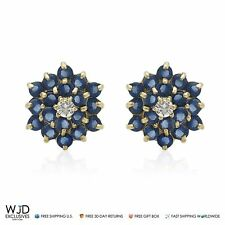 14K Solid Yellow Gold Created Blue Sapphire Flower Stud Earrings 7.5mm