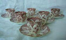 6 tasses à café en porcelaine anglaise ancienne