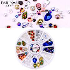 NEW Mixed Shape Acrylic Nail Art Crystal Gems Pearl Beads Rivets UK