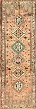 Vintage Muted Tribal Abadeh Geometric Hand-Made Runner Rug Hallway Carpet 3'x10'
