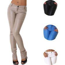 Pantaloni da donna in pelle a gamba dritta taglia XS
