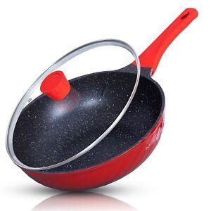 30cm Stir Fry Wok with lid Ceramic Non Stick Electric Induction Hob Ceramic