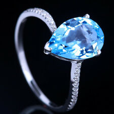 Pear 11x8mm Blue Topaz Real Diamonds Gemstone Ring Jewelry Solid 14k White Gold
