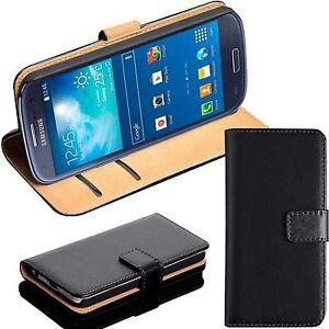 BLACK REAL GENUINE LEATHER WALLET CARD SLOT FLIP CASE FOR SAMSUNG PHONE UK SELL