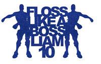 Personalise Floss like a boss customised cake topper gamer name boy flossing