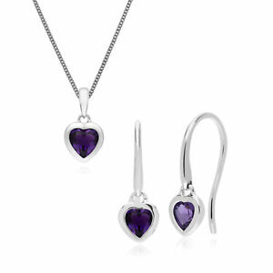 Sterling Silver Single Stone Amethyst Heart Drop Earring & 45cm Necklace Set