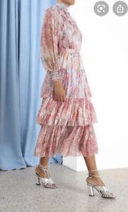 Zimmermann Botanica Tiered Midi Skirt, Milettia Floral, Silk, Sz 0P, $695, Tags
