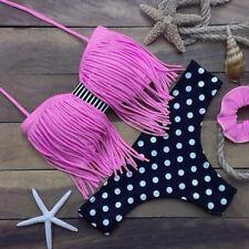 Womens Bikini Set Push-up Padded Halter Tassel Bra Leopard Swimsuit Swimwear