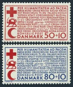 Denmark B35-B36,as hinged.Michel 438-439. Red Cross,Red Crescent,Red Lion.1966.