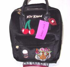 Betsey Johnson Black Velvet Backpack With Appliques Popcorn Cherries Lips & Lion
