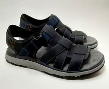 Clarks Unstructured Blue Leather Adjustable Comfort Sandals Men's 13M
