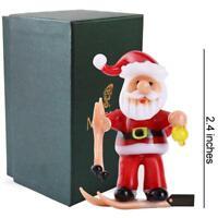 Murano Christmas Winter Decorative Glass Santa & Skis Figurine, Christmas Gift