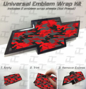 (2) Universal Chevy RED CAMO Bowtie Emblem Overlay Wrap Kit - Silverado Tahoe