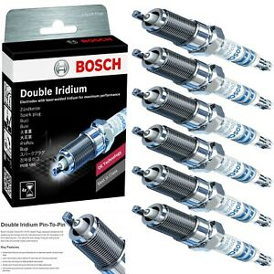 6 pcs Bosch Double Iridium Spark Plugs For 2010-2019 FORD FLEX V6-3.5L