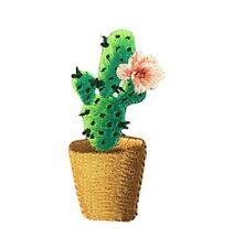 Cactus - Pink Flower/Brown Pot Potted Plant Iron on Applique/Embroidered Patch