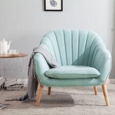 Fabric Tub Accent Chair Lounge Large Single Sofa Aquamarine Blue Cushion Padded