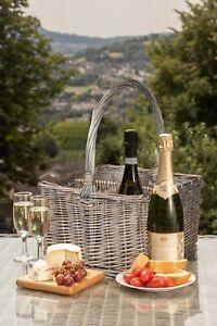 Wickerfield Wicker Wine 4 Compartment Wicker Bottle Carrier Champagne Holder