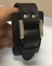 Punk unisex faux leather bracelet cuff wristband in black colour