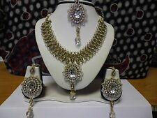 GOLD BEADED INDIAN COSTUME JEWELLERY NECKLACE EARRINGS WEDDING PARTY SET NEW