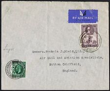 1936 Nigeria Lagos Air Mail Sutton Coldfield with 1/2d Photogravure Added.