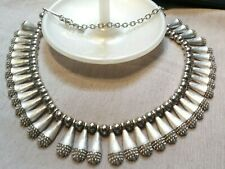 """Vintage Jewelry: 17"""" Silver Tone Necklace W/1"""" Dangles 170505"""