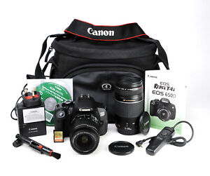 Canon EOS 650D DSLR Camera Dual Lens Kit 18-55mm IS II & 75-300mm 6,529 Shot EXC