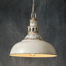 Farmhouse Distressed White Barn Metal Pendant Ceiling Light, includes Light Bulb