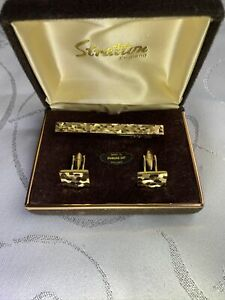 Stratton London cufflinks and tie pin set, Diamond Cut vintage boxed