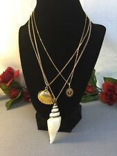Lovely Vintage To Now 3 Pendant Gold Tone Necklaces-Estate Lot