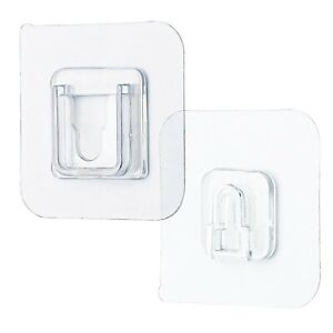 Wall Hooks Hanger Double Sided Adhesive Transparent Suction Cup Reusable