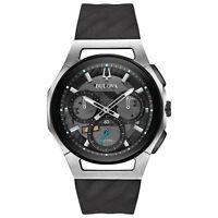 Bulova CURV Men's 98A161 Quartz Gray Dial Silicone Black Band 44mm Watch