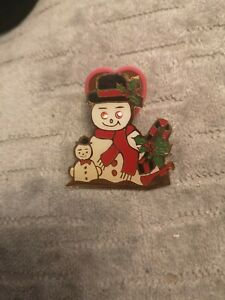 1990s Light Up Snowman Christmas Pin Badge