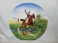 "vintage Horse Collector Plate Horse w/ rider & hounds 12"" round Made in Germany"