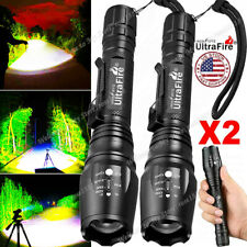 2PC Tactical 350000LM Zoomable Focus  LED High Power Flashlight 186*50 Torch