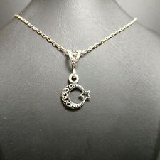 Turkish Crescent and Star Necklace + Pendant, 925 Sterling Silver, Turk Ayyildiz