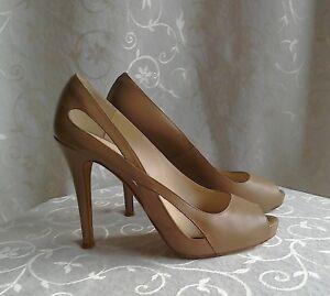L.K.Bennett 👠 Taupe Nigella Leather Peep Toe Shoes .. EU 37 / UK 4