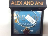 Alex and Ani Harry Potter It's Our Choices Bangle Bracelet Two Tone Shiny Silver
