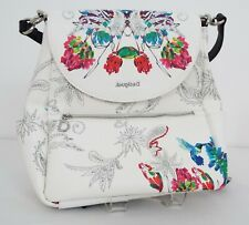 Desigual - Women's Leather Backpack - White with floral pattern