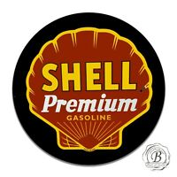 Vintage Shell Premium Gasoline Vintage Design Circle Sign
