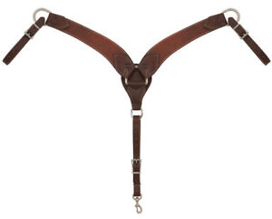 """Western Brown Leather 2.5"""" Wide Plain Roping Shaped  Breast Collar"""