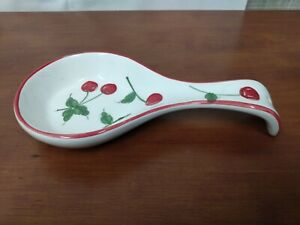 Target Home CHERRIES Hand Painted Cherry Kitchenware Utensil Holder SPOON REST