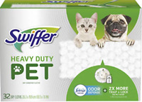 Swiffer Sweeper Pet,Heavy Duty Dry Sweeping Cloth with Odor Defense 32 Count