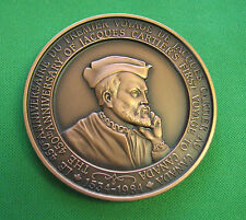 Canada Medal French 450th Jacques Cartier's Bronze 70mm