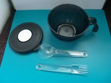 Tupperware Acrylic Heat N Serve Microwave Mug Black ~ With New Clear Utensils