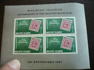 Stamps - Maldive Islands - Scott# 86a - Souvenir Sheet - Imperf